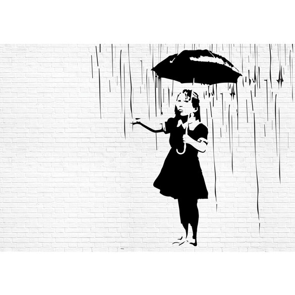 Mural no. 1880 | Non-woven or Paper | illustrations wallpaper girl rain