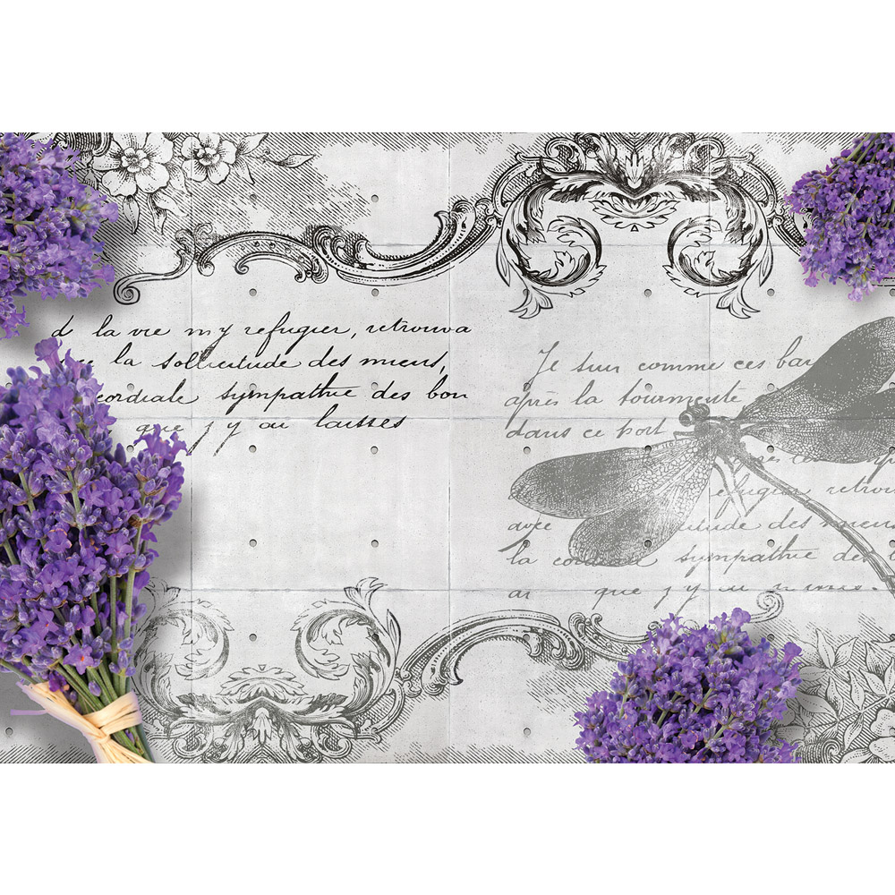 Fototapete no. 1958 | Vlies | Schriftkunst Tapete Schriftzug Lavendel Pflanze Motiv 1958