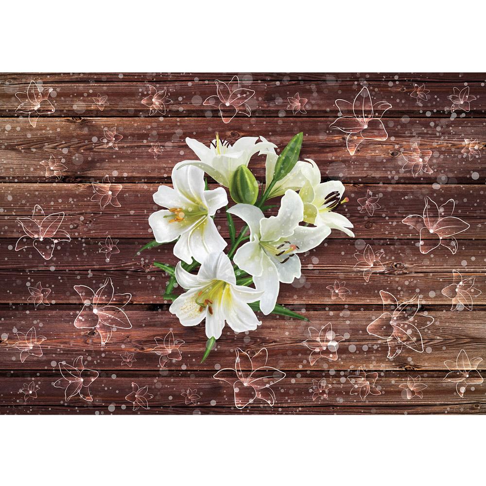 Fototapete no. 2054 | Vlies | Holz Tapete Holzwand Holzoptik Lilie Blume Blüte Motiv 2054
