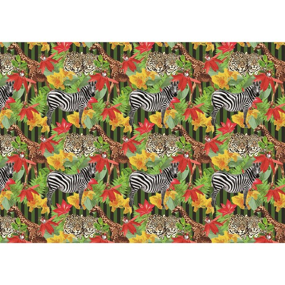Fototapete no. 2078 | Vlies | Tiere Tapete Zebra Giraffe Leopard Blume Muster Motiv 2078