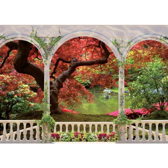 Fototapete no. 2086 | Vlies | Pflanzen Tapete Terrasse Wasser See Blumen Park Motiv 2086