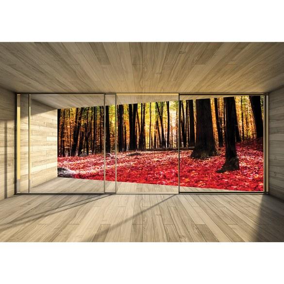 Fototapete no. 2158 | Vlies | Holz Tapete Holzoptik Wald Bäume Blätter Fenster Motiv 2158