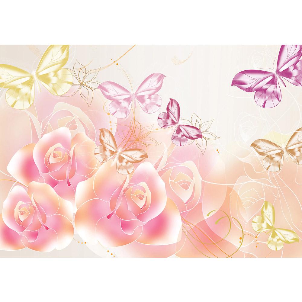 Fototapete no. 2182 | Vlies | Blumen Tapete Blüten Rosen Schmetterlinge Linien Motiv 2182