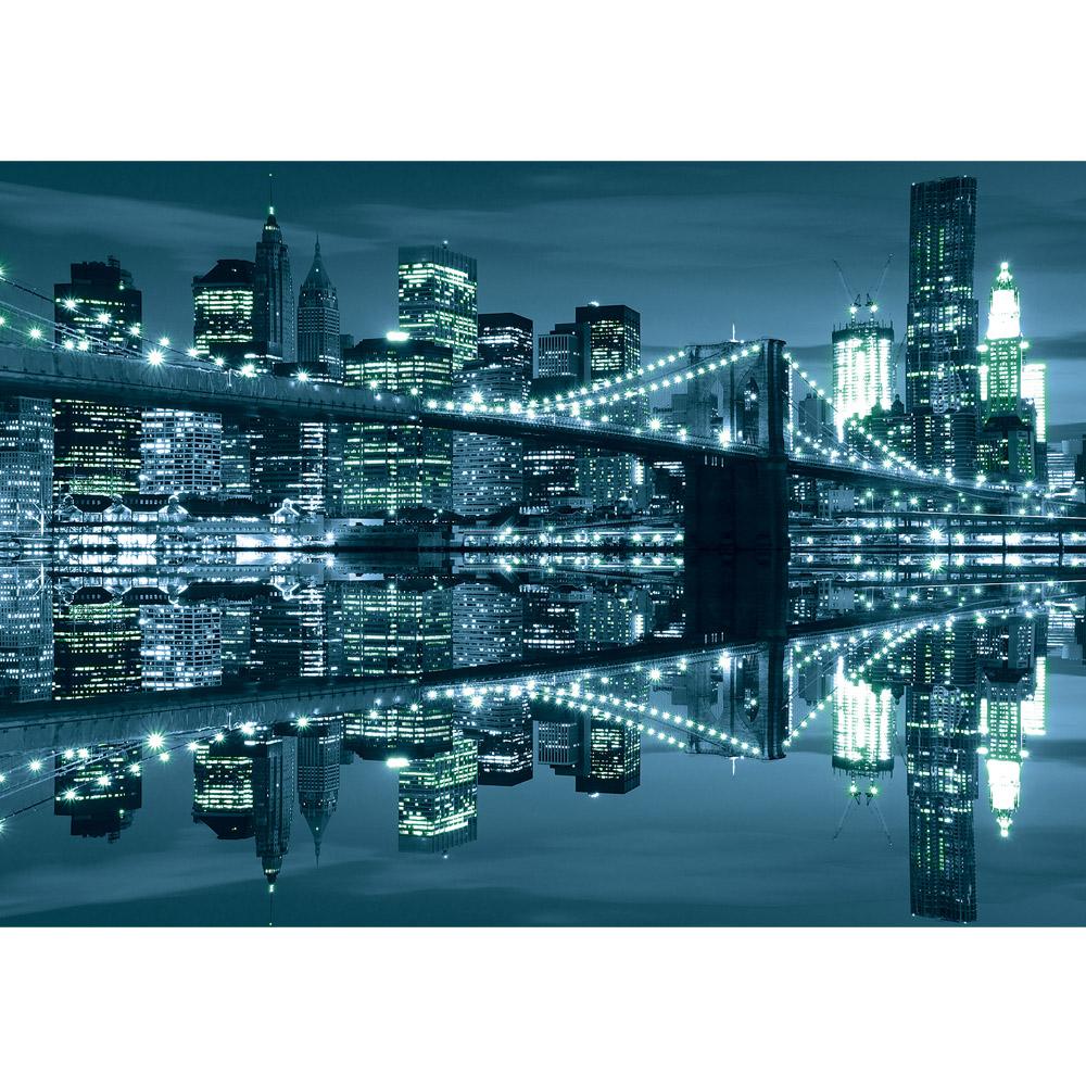 Fototapete no. 2267   Vlies   Skylines Tapete Skyline Nacht Brücke Spiegelung Motiv 2267