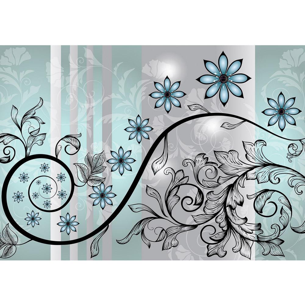 Fototapete no. 2454 | Vlies | Ornamente Tapete Blumen Blüte Ranke Blätter Streifen Motiv 2454
