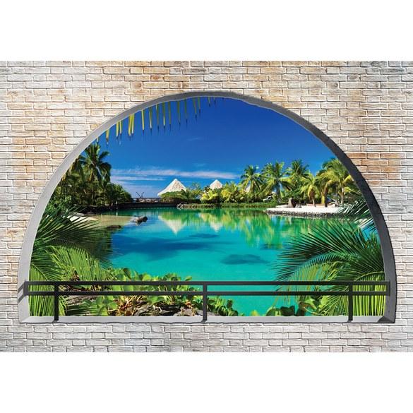 Fototapete no. 2458 | Vlies | Meer Tapete Paradies Palmen Wasser Urlaub Steinwand Motiv 2458