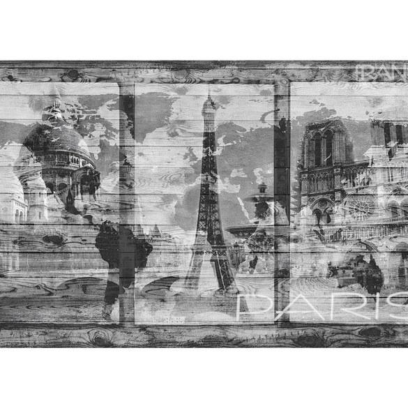 Fototapete no. 2500   Vlies   Holz Tapete Holzwand Holzoptik Paris Schrift Motiv 2500