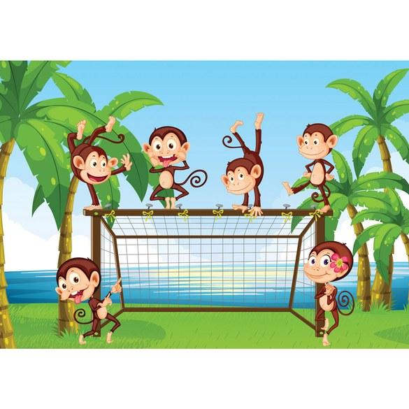 Fototapete no. 2521 | Vlies | Illustrationen Tapete Affen Tiere Kinder Palmen Motiv 2521