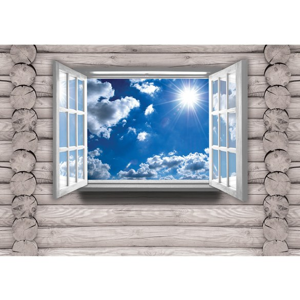 Mural no. 2603 | Non-woven or Paper | wood wallpaper look window sky sun