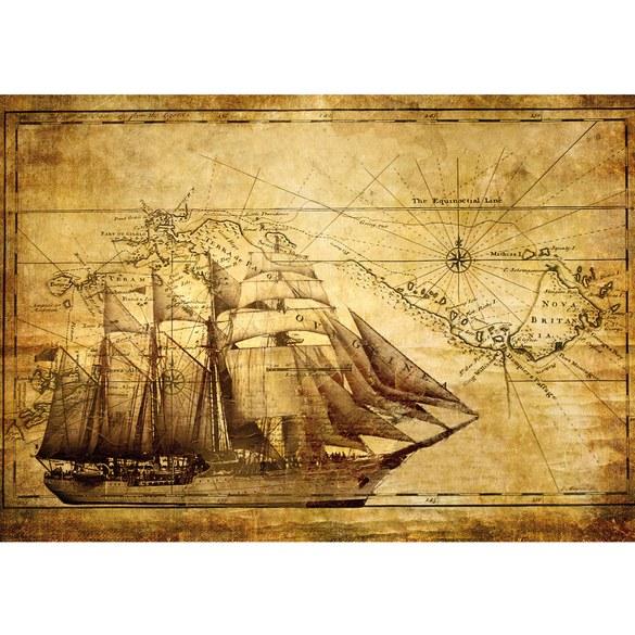 Non-woven Mural no. 2650 | Geographie Tapete Äquator Schiff Vintage gold Motiv