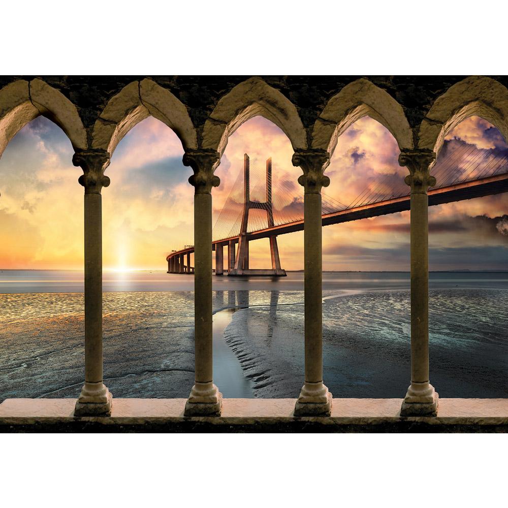 Fototapete no. 2677 | Vlies | Sonnenuntergang Tapete Brücke Meer Wasser Säulen Motiv 2677
