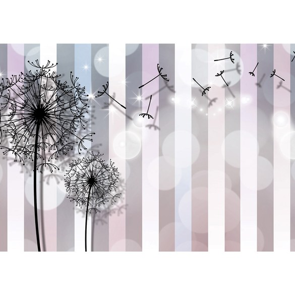Fototapete no. 2686 | Vlies | Blumen Tapete Blüten Pusteblumen Streifen Kunst Motiv 2686