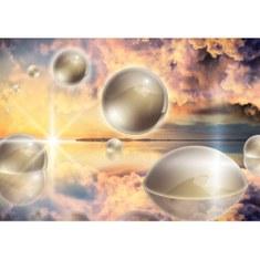 Fototapete no. 2687 | Vlies | Sonnenuntergang Tapete Kunst Kugeln Wolken Meer Motiv 2687