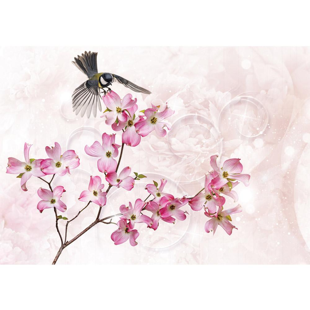 Fototapete no. 2691 | Vlies | Blumen Tapete Blüten Blätter Blaumeise Kunst Motiv 2691