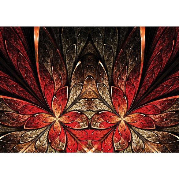 Fototapete no. 2709 | Vlies | Blumen Tapete Abstrakt Kunst Illustration rot Motiv 2709
