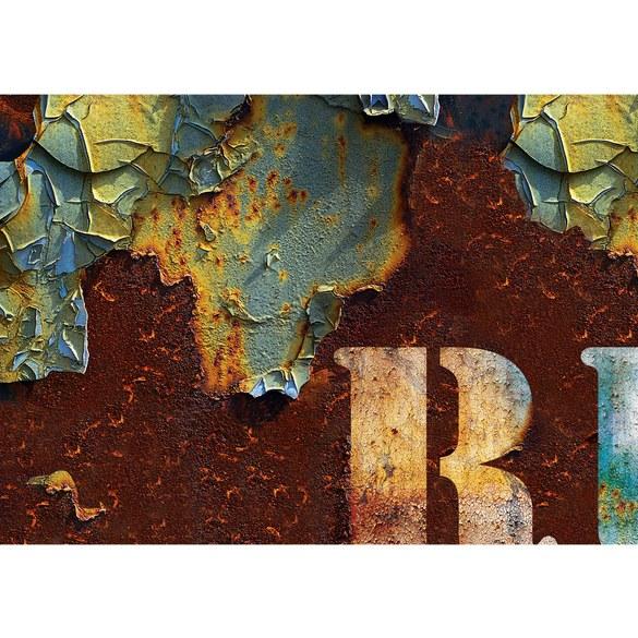 Fototapete no. 2758 | Vlies | Schriftkunst Tapete Schild Rost braun Motiv 2758