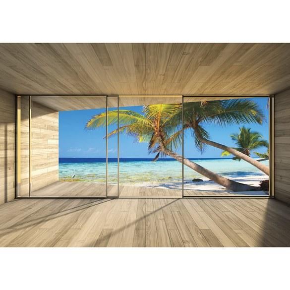 Fototapete no. 2800   Vlies   Meer Tapete Strand Palmen Wasser Raum Holz blau Motiv 2800