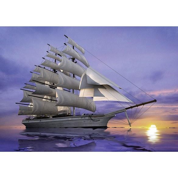 Non-woven Mural no. 2835 | Wasser Tapete Meer Segelboot Segelschiff Sonnenuntergang lila Motiv
