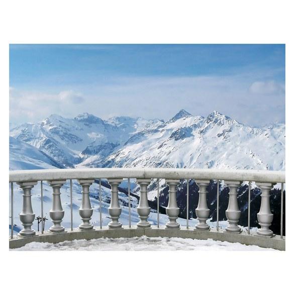 Fototapete no. 2853 | Vlies | Landschaft Tapete Alpen Schnee Balkon Winter Motiv 2853