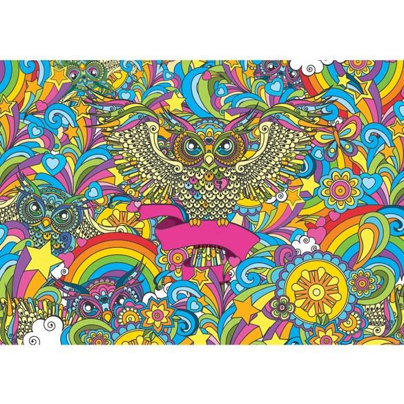 Mural no. 2871 | Non-woven or Paper | art wallpaper abstract owls color