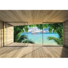 Fototapete no. 2912 | Vlies | Meer Tapete Palmen Paradies Schiff Holz blau Motiv 2912