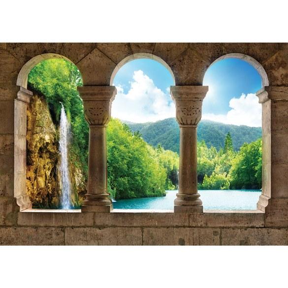 Fototapete no. 2941 | Vlies | Wasser Tapete Wasserfall See BäumeWald Säulen Motiv 2941