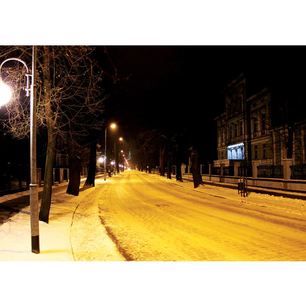 Fototapete no. 2972 | Vlies | Natur Tapete Winter Schnee Laterne Nacht Bäume Motiv 2972