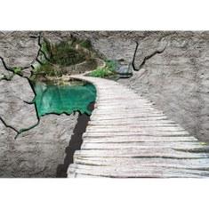 Fototapete no. 3013 | Vlies | Wasser Tapete Steg Meer Natur Steinwand Paradies Motiv 3013