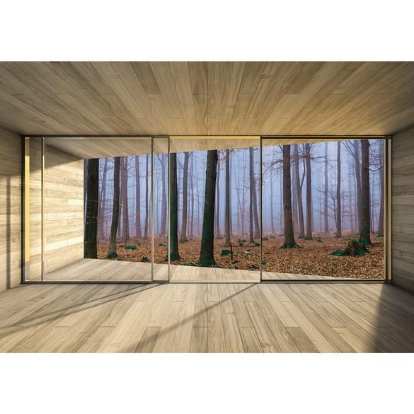 Fototapete no. 3029 | Vlies | Holz Tapete Holzoptik Rahmen Fenster Wald Bäume Motiv 3029