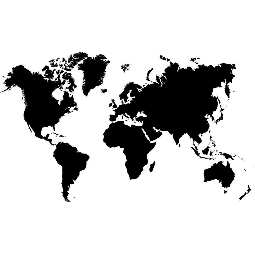 Fototapete no. 3034   Vlies   Welt Tapete Erde Kontinente schwarz - weiß Motiv 3034