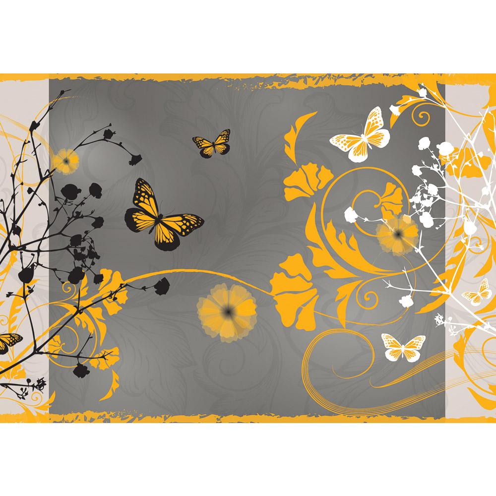Fototapete no. 3064 | Vlies | Kunst Tapete Design Blumen Schmetterlinge Rahmen Motiv 3064