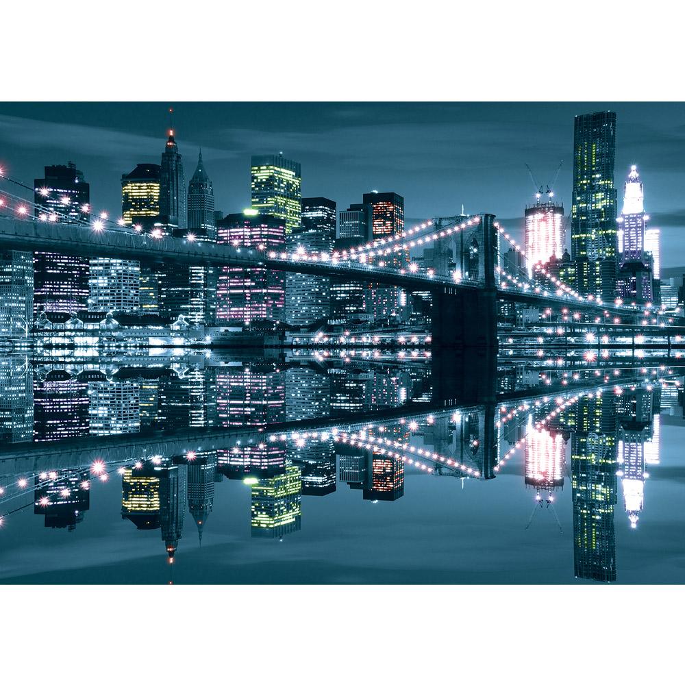 Fototapete no. 3081 | Vlies | Skylines Tapete Skyline Stadt Brücke Wasser Lightning Motiv 3081