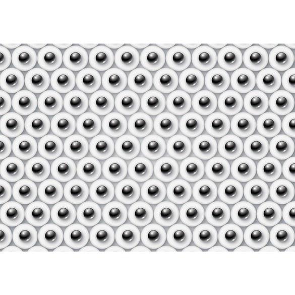 Non-woven Mural no. 3087   Illustrations Wallpaper balls 3D circles pattern in black and white Motiv