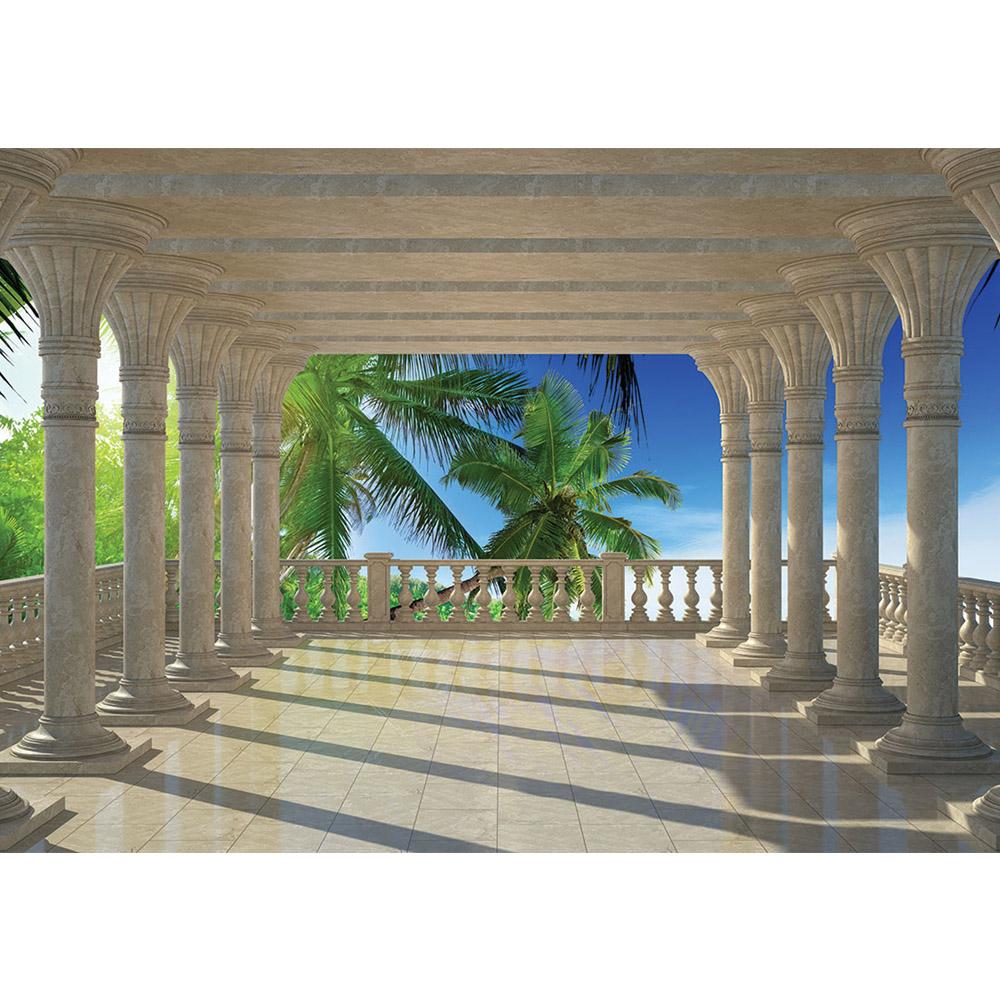 Fototapete no. 3097 | Vlies | Meer Tapete Säulen Palmen Strand Motiv 3097