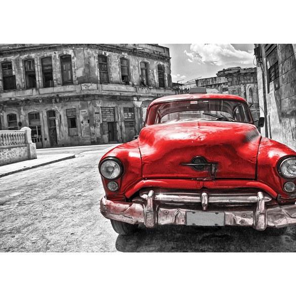 Non-woven Mural no. 3130 | Car wallpaper car vintage building red Motiv