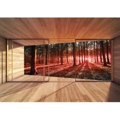 Fototapete no. 3138 | Vlies | Wald Tapete Raum Holz Bäume Natur rot Motiv 3138