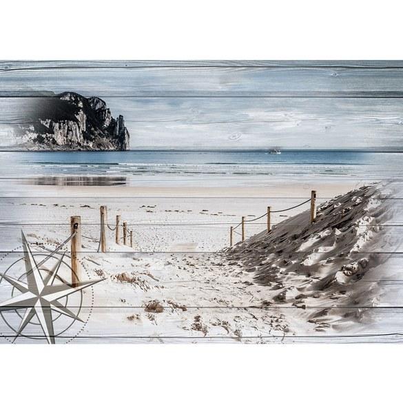 Fototapete no. 3182 | Vlies | Meer Tapete Sand, Küste, Windrose, Felsen, Kutter Motiv 3182