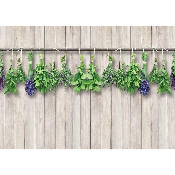 Fototapete no. 3202 | Vlies | Pflanzen Tapete Kräuter, Holzwand braun Motiv 3202