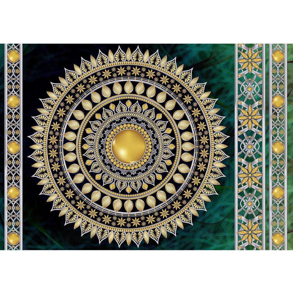 Fototapete no. 3234 | Vlies | OrnamenteTapete Mandala, Sterne, Perlen grün Motiv 3234
