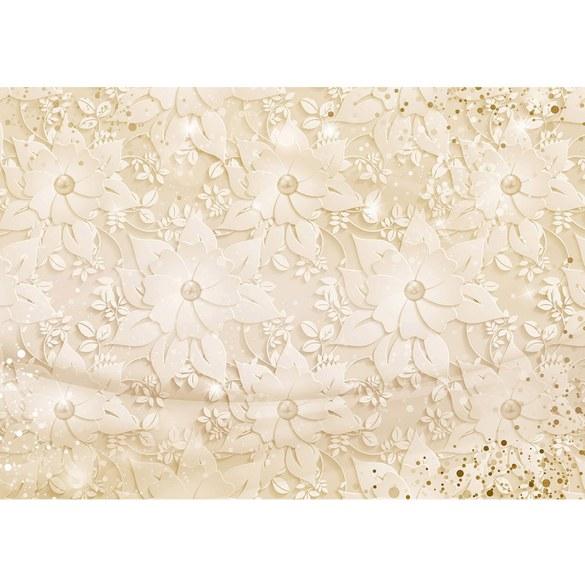 Fototapete no. 3265 | Vlies | Blumen Tapete Blüten, Blätter, stilisiert beige Motiv 3265