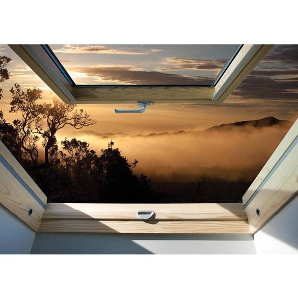 Fototapete no. 3300 | Vlies | Landschaft Tapete Bäume, Berge, Nebel, Fenster Motiv 3300