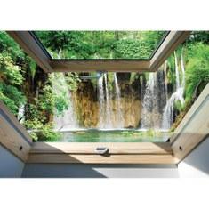 Fototapete no. 3317 | Vlies | Wasser Tapete Wasserfall, See, Fluss, Wald, Fenster Motiv 3317