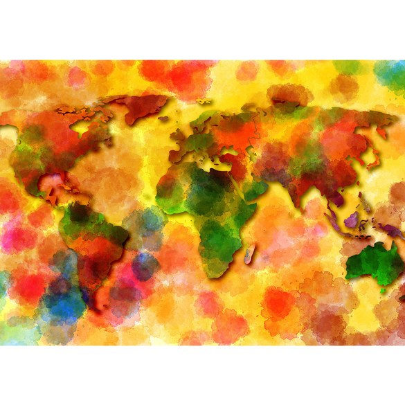 Mural no. 3332 | Non-woven or Paper | world wallpaper map watercolor colorful