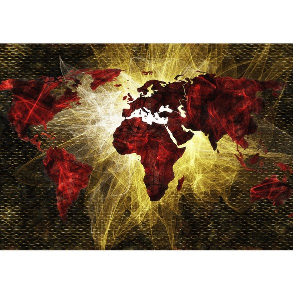 Mural no. 3333 | Non-woven or Paper | world wallpaper map hatching red