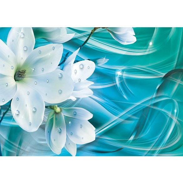 Mural no. 3365 | Non-woven or Paper | orchids wallpaper flowers glitter