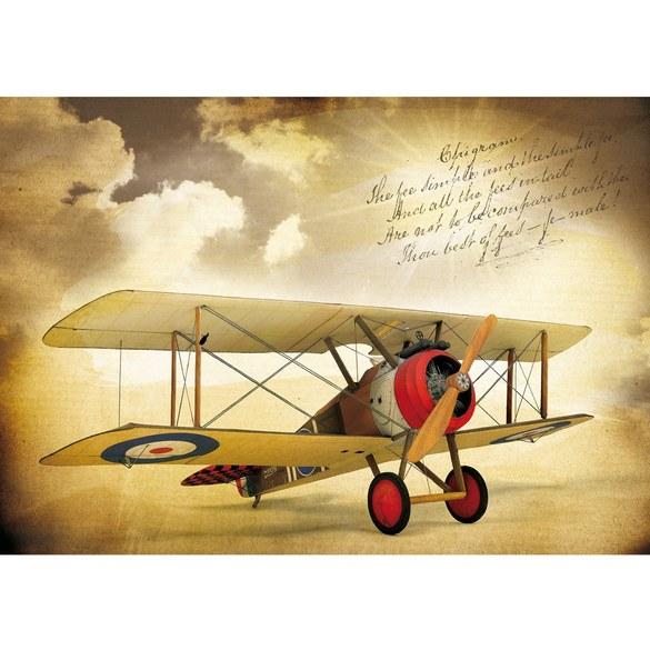 Non-woven Mural no. 3384 | Sky wallpaper biplane, plane, sky, vintage sepia Motiv