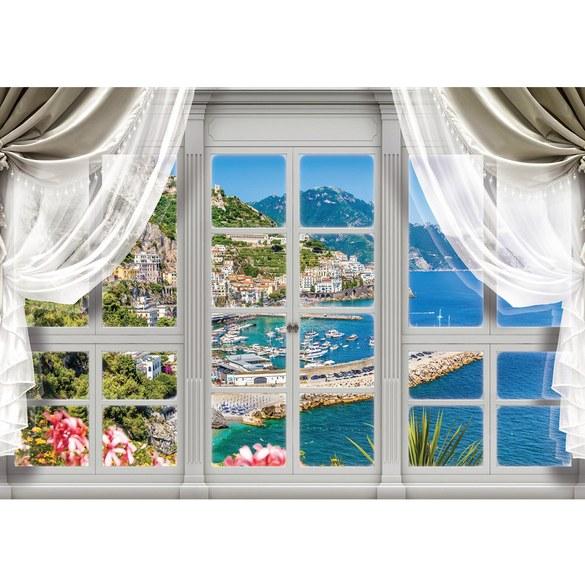 Fototapete no. 3400 | Vlies | Meer Tapete Mittelmeer, Hafen, Yachten, Fenster Motiv 3400