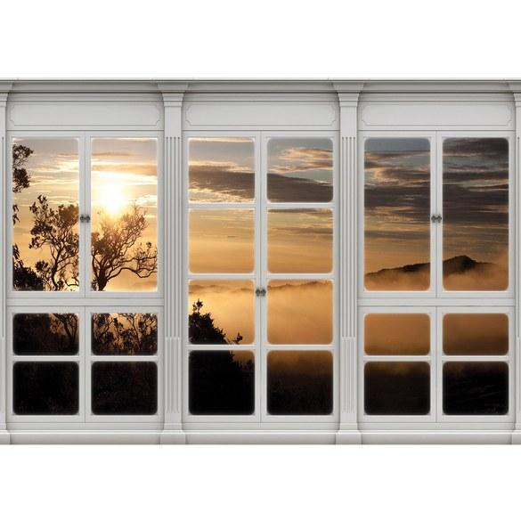 Fototapete no. 3415 | Vlies | Wald Tapete Sonnenaufgang, Nebel, Laubwald, Fenster Motiv 3415