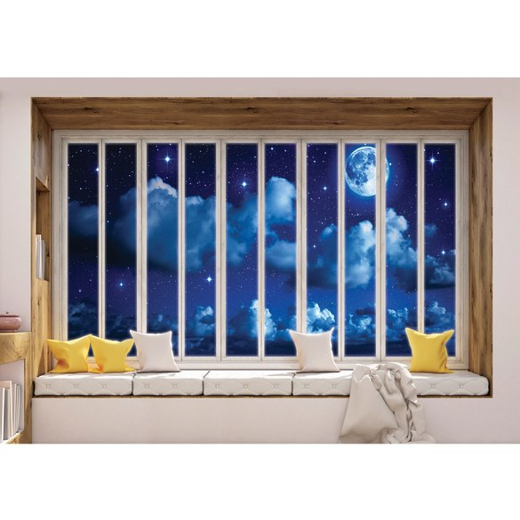 Mural no. 3424 | Non-woven or Paper | sky wallpaper full moon clouds night