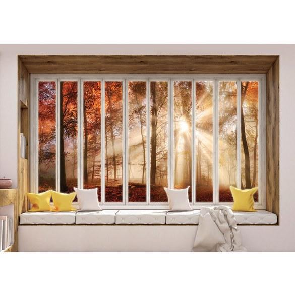 Fototapete no. 3431 | Vlies | Wald Tapete Laubwald, Nebel, Herbst, Fenster, Motiv 3431